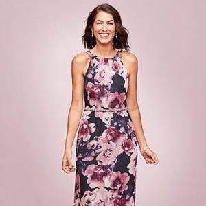 Women's long Floral A-Line Dress-size 10